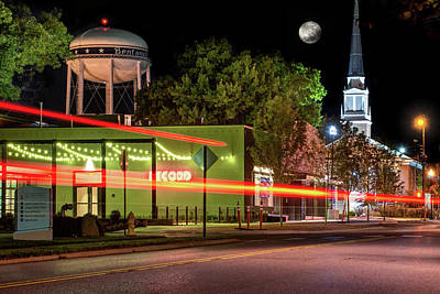 Photograph - Moonlight Over The Bentonville Record And Water Tower by Gregory Ballos