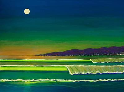 Ocean Sunset Painting - Moonlight Over Venice Beach by Frank Strasser
