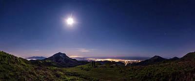 Tuscany Photograph - Moonlight Panorama by Matteo Viviani