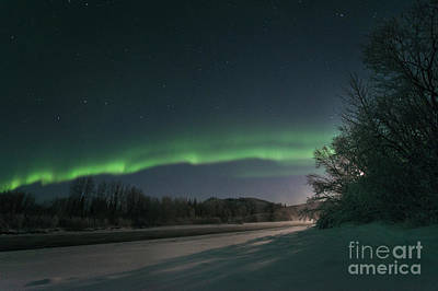 Yukon River Photograph - Moonlight Aurora 2 by Priska Wettstein