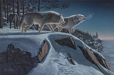 Prowler Painting - Moonlight Prowlers by Kim Norlien
