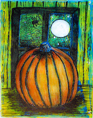 Creepy Mixed Media - Moonlight Pumpkin by Teri Newberry