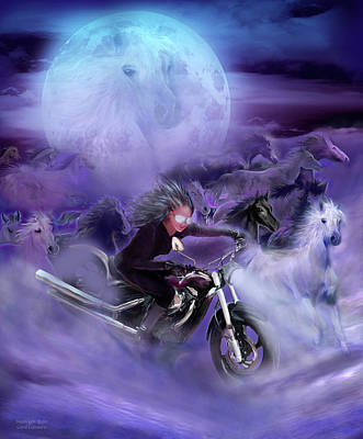 Mixed Media - Moonlight Rider by Carol Cavalaris