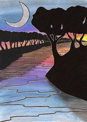 Painting - Moonlight River by Michele Bullock