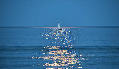 Photograph - Moonlight Sail 2 - Ogunquit Beach - Maine by Steven Ralser