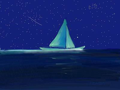 Digital Art - Moonlight Sail - Art By Bill Tomsa by Bill Tomsa