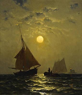 Painting - Moonlight Sail by Francis Augustus Silva