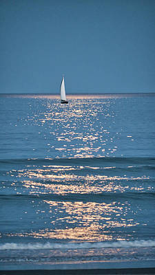 Photograph - Moonlight Sail - Ogunquit Beach - Maine by Steven Ralser