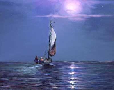 Painting - Moonlight Sailing by David  Van Hulst