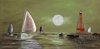 Coastal Maine Mixed Media - Moonlight Sailnata 2 by Ken Figurski