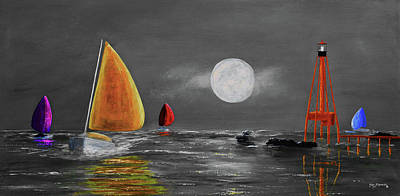 Coastal Maine Mixed Media - Moonlight Sailnata 3 by Ken Figurski