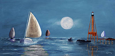 Coastal Maine Mixed Media - Moonlight Sailnata 4 by Ken Figurski