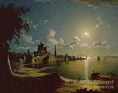 Harbor Scene Wall Art - Painting - Moonlight Scene by Sebastian Pether