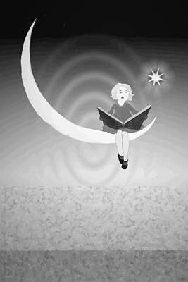 Digital Art - Moonlight Serenade B And W by Joyce Dickens