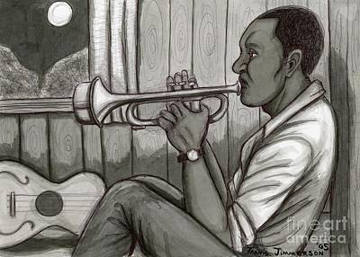 Trumpet Player Drawing - Moonlight Serenade by Travis Jimmerson