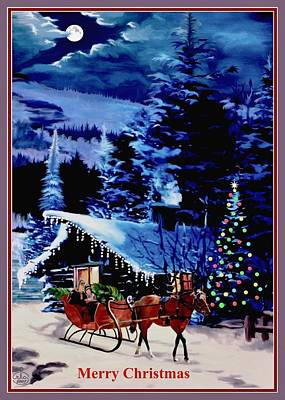 Moonlight Sleigh Ride V2 Art Print