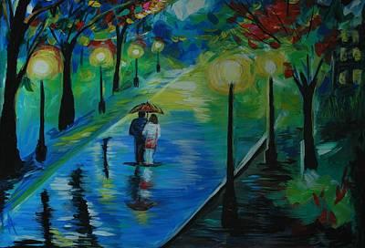 Painting - Moonlight Stroll by Leslie Allen