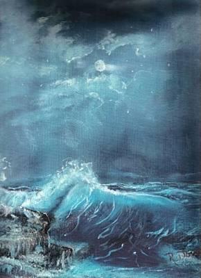 Moonlight Surf Art Print by Raymond Doward