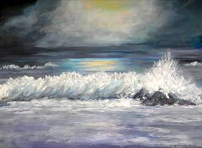 Painting - Moonlight Surf by Shirley Lawing