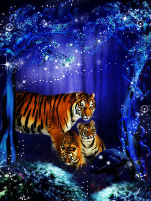 Toadstool Digital Art - Moonlight Tigers by Julie L Hoddinott
