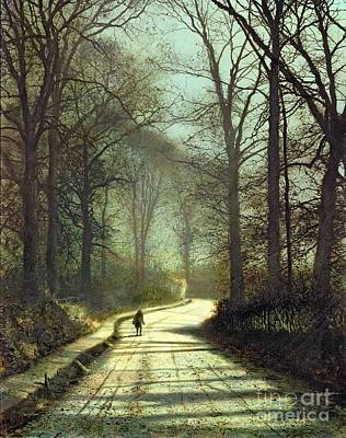 Street Lights Painting - Moonlight Walk by John Atkinson Grimshaw