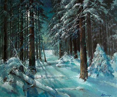 Pop Art - Moonlight winter night in fir forest by Mark Kremer