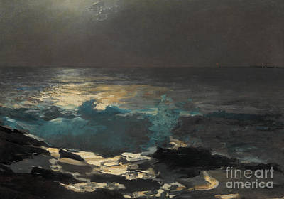 Sea View Painting - Moonlight, Wood Island Light, 1894 by Winslow Homer