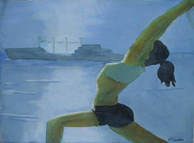 Yoga Pose Painting - Moonlight Yoga by Robert P Hedden