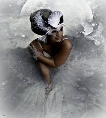 Moonlit Mixed Media - Moonlit Ballerina by G Berry