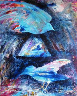 Painting - Moonlit Birds by Denise Hoag
