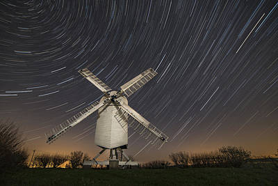Photograph - Moonlit Chillenden Windmill by David Attenborough