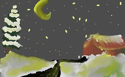 Fir Trees Digital Art - Moonlit Christmas by Alexandra Mallory
