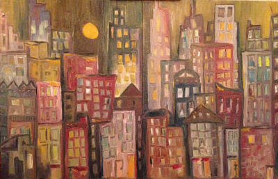 Oil Painting - Moonlit City by Roxy Rich