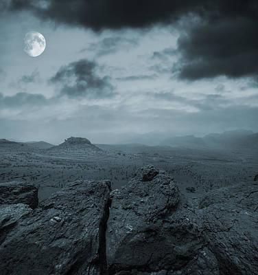 Rocky Digital Art - Moonlit Desert by  Jaroslaw Grudzinski