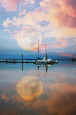 Photograph - Moonlit Evening Over The Harbor by Debra and Dave Vanderlaan