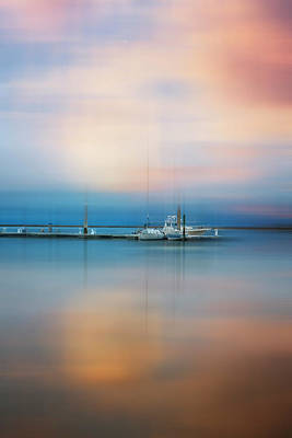 Photograph - Moonlit Evening Over The Harbor Dreamscape by Debra and Dave Vanderlaan