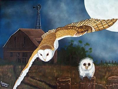 Owl Painting - Moonlit Flight by Debbie LaFrance