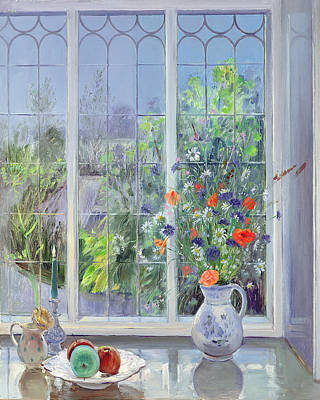 Blue And Green Painting - Moonlit Flowers by Timothy Easton