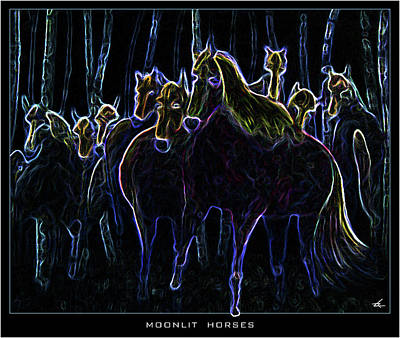 Mixed Media - Moonlit Horses by Larry Rice