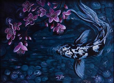 Moonlit Koi Original by Vivian Holabird