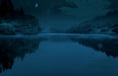 Photograph - Moonlit Lake by Bill Posner