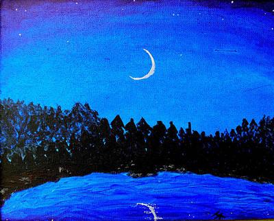 Phthalo Blue Painting - Moonlit Lake by Helen Krummenacker