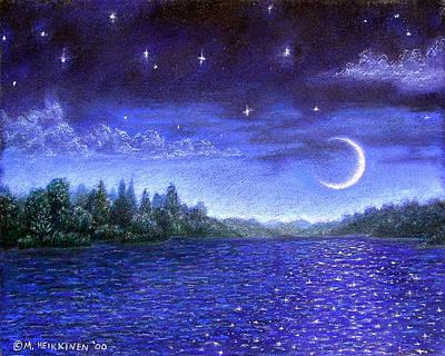 Pastel - Moonlit Lake by Michael Heikkinen