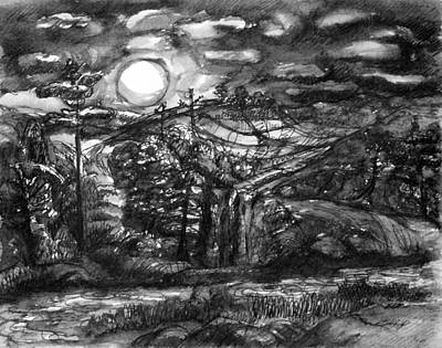 Painting - Moonlit Landscape by Wendy Le Ber