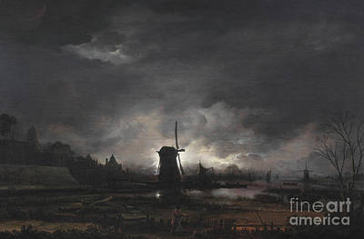 Landscape With Figure Painting - Moonlit Landscape With A Windmill by Aert van der Neer
