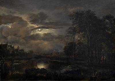 Moonlit Landscape With Bridge Art Print by Aert Van Der Neer