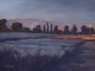 Painting - Moonlit Lavender Fields by Jane Thorpe