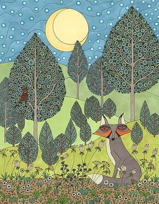 Drawing - Moonlit Meadow by Pamela Schiermeyer