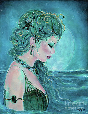Sea Moon Full Moon Painting - Moonlit Mermaid by Renee Lavoie
