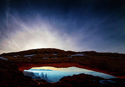 Mesa Arch Photograph - Moonlit Mesa by Peter Irwindale